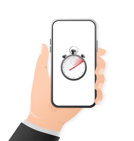 Cartoon icon with timer and smartphone with hand on white background. Business design. Vector illustration Vektorové ilustrace