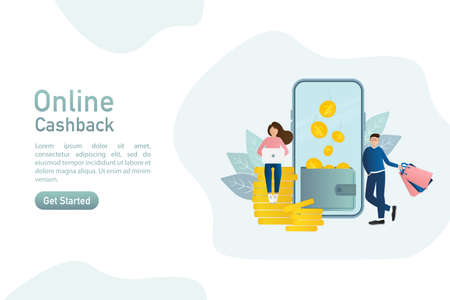 Flat card with cash back people for banner design. Illustration concept. Gift card for banner design. Payment online concept