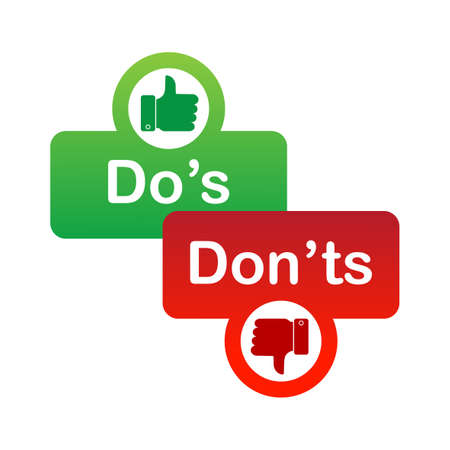 Dos and donts red and green badge. Simple flat modern info logotype graphic design isolated on white background. Concept of rules of conduct for people like fail or incorrect decision.