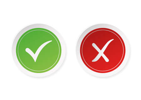 Dos and donts red and green stickers. Simple flat modern info logotype graphic design isolated on white background. Concept of rules of conduct for people like fail or incorrect decision.