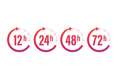 12, 24, 48, 72 hours clock arrow. Work time effect or delivery service time. Vector stock illustration.