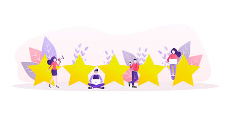 Flat illustration with golden rating people. Rating people in flat style on white background. Vector illustration. Vector Illustration