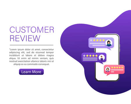 Customer review, great design for any purposes. Flat illustration with customer review. Vector illustration.