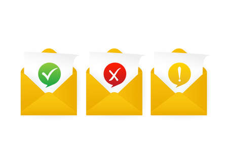 Check mark in envelope. Approved, rejected and warning message. Yellow template on white background. Vector illustration.