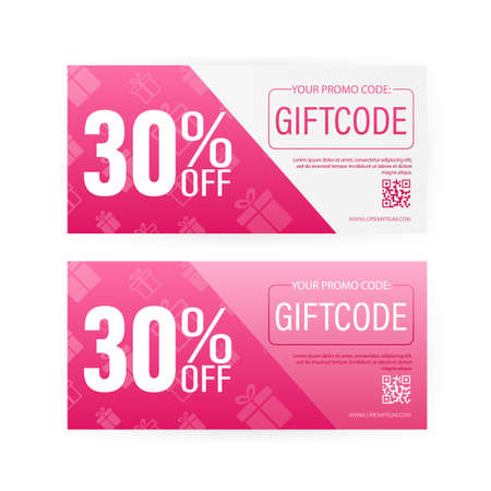 Different Modern birthday card with red giftcode for banner design. giftcode in modern style. Christmas banner. Vector design. Special offer sale template. Coupon ticket card. 矢量图片