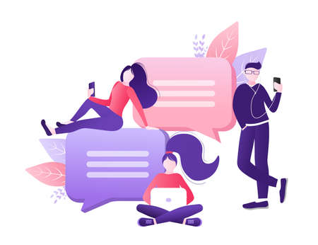 Chat people for concept design. Vector text. Business people teamwork. Social media concept. Flat vector character illustration. Characters talking.