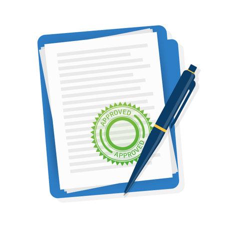 Flat approved rejected document for report design. Vintage vector illustration. Flat vector illustration.