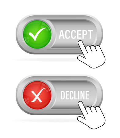Green and red accept decline button. Abstract web template with red accept decline on white background. Isolated vector illustration.