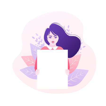 Women holding placard, great design for any purposes. Vector character illustration. Flat cartoon vector illustration.