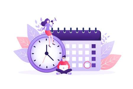 Flat time management for report design. Isometric vector illustration. Time management. Flat vector illustration. Organize agenda. Vektorové ilustrace