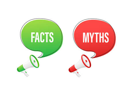 Icon for concept design. Icon with fact vs myths on transparent background for concept design. Vector illustration.