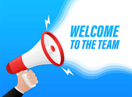 Welcome to the team megaphone for banner design. Vector stock illustration.