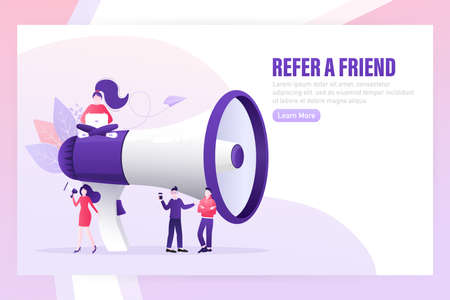 Flat icon with megaphone people refer friend. Poster, banner. Flat isometric vector illustration. 3d vector illustration.