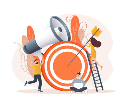 Business strategy target, great design for any purposes. Flat isometric vector illustration. Digital marketing illustration. Digital communication.