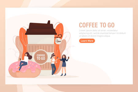 Flat illustration with coffee to go people. Cartoon people illustration. Characters with drink in paper cup. Shop, drink, coffee to go concept.
