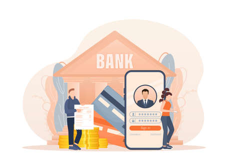 Line banking people for account page design. Isometric vector illustration. Bank online. Vector illustration.