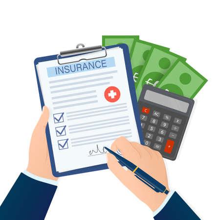 Business card with medical insurance men hand for medical design. Business card. Vector flat illustration.