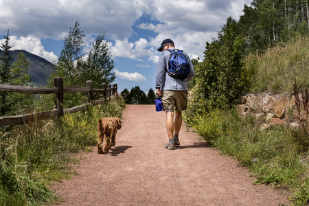 Best friends -- one man hiker and his labradoodle dog -- walk side by side for exercise on a dirt hiking trail near the mountains on a sunny summer day. Outdoor recreation and healthy activity in a beautiful landscape. Archivio Fotografico
