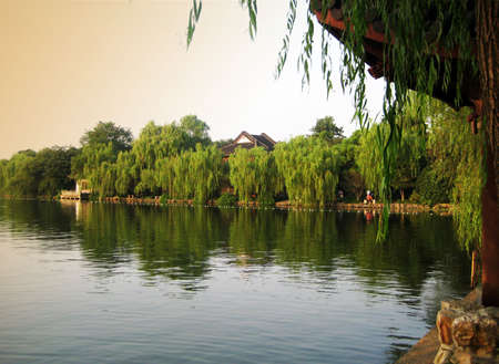 Scenic lake and trees at China Stock Photo - 8086062