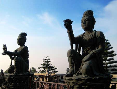 Buddhist statues in at Lantau Island, Hong Kong photo