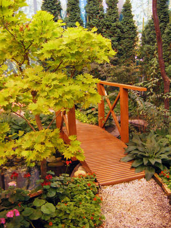 Garden with a bridge photo