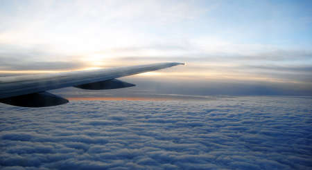 airplane wing on the sky Stock Photo