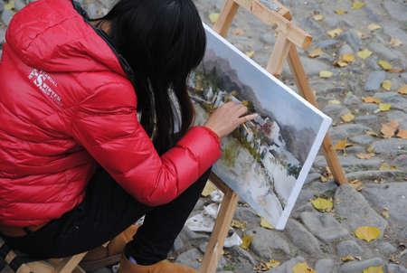 Artist painting scenary
