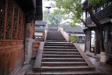Stone stairs in suburban China Stock Photo