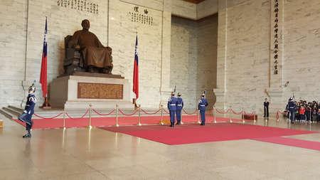 Taipei, Taiwan - March 31, 2016: Changing of guards procession inside Chiang Kai-Shek memorial hall. Editorial