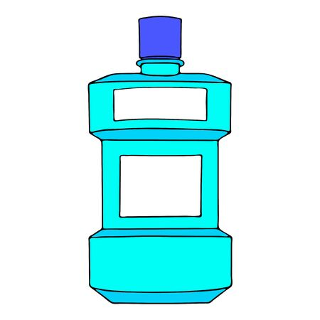Mouthwash, mouth rinse, dental care product personal oral hygiene home bathroom. Template plastic bottle liquid. Color vector isolated flat doodle realistic drawing black outline white background icon