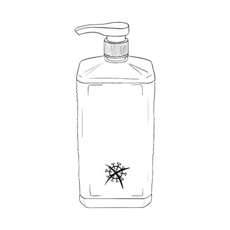 Template skin medical antiseptic hands. Personal hygiene product. Sanitizer dispenser disinfect, protect coronavirus bacteria. Vector isolated flat doodle realistic black outline white background icon.