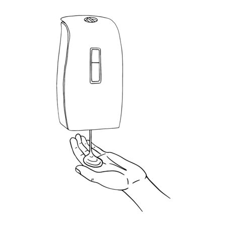 Male hand use modern automatic soap foam dispenser close up. Personal hygiene product prevention from virus bacteria. Vector template isolated flat doodle realistic black outline white background icon.