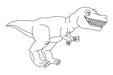Dangerous predator Tyrannosaurus Rex open mouth, drawn close-up. Prehistoric extinct animal. Coloring page book for children, adults. Vector isolated template flat doodle realistic black outline icon 写真素材 - 149521572