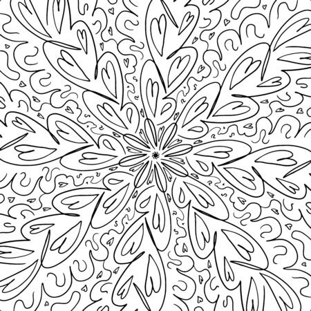 Curved lines, curls mandala. Abstract coloring book page. Circles and lines, shapes. Dynamic contour repeating elements Beautiful pattern relaxation black and white ornament. Vector meditative drawing.