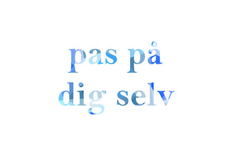 inscription take care of yourself to Low Poly in Danish