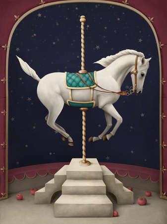 Caballo de circo blanco.Ilustración de una escena de circo. El caballo blanco en el podio. Foto de archivo
