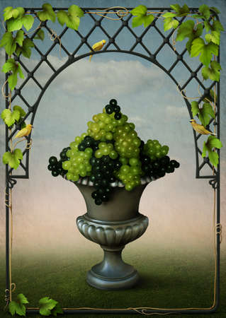 Vase with grapes and vines frame Stock Photo - 8634551