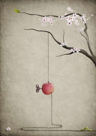 worm: La carretera principal.Cartel surrealista.Apple, rama y el gusano. Foto de archivo