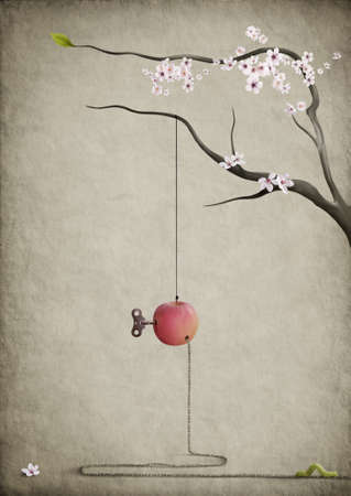 apple worm: The road home.Surreal poster.Apple, branch, and the worm.