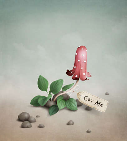 mushroom illustration: Poisonous red  mushroom  with  the tag  Eat me.