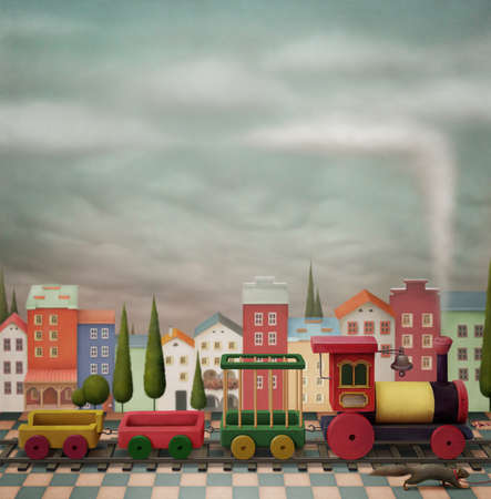 Imaginary toy  town  and  train.  A small town and the railway with   locomotives.