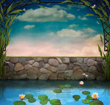 Pond with  water lilies. Background image  or  a postcard. Computer graphics. Stock Photo