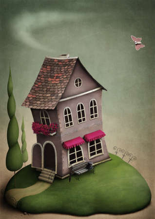 The little toy house on the hill Stock Photo - 9857142
