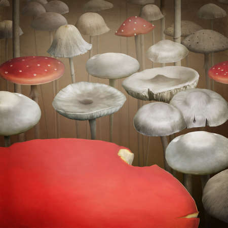 Background of the  fungi.  Illustration  or  poster.  computer graphics