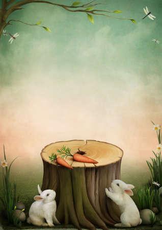 Rabbits and carrots Stock Photo