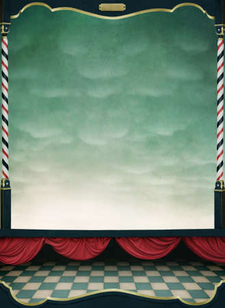 spectacle: Background with red curtains and  wooden frame