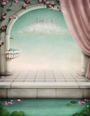 balcony window: beautiful fairy-tale backdrop for an illustration or poster