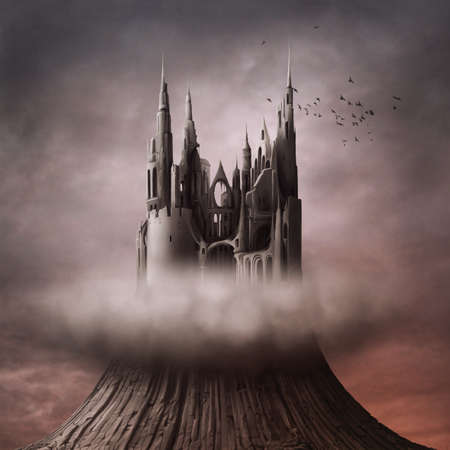 dark cloud: The ruins on the hill Stock Photo