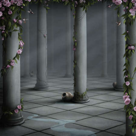 fantasy castle: Room with Roses