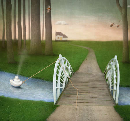 rope bridge: This poster draws on photos of trees, bees, house, river, texture Stock Photo